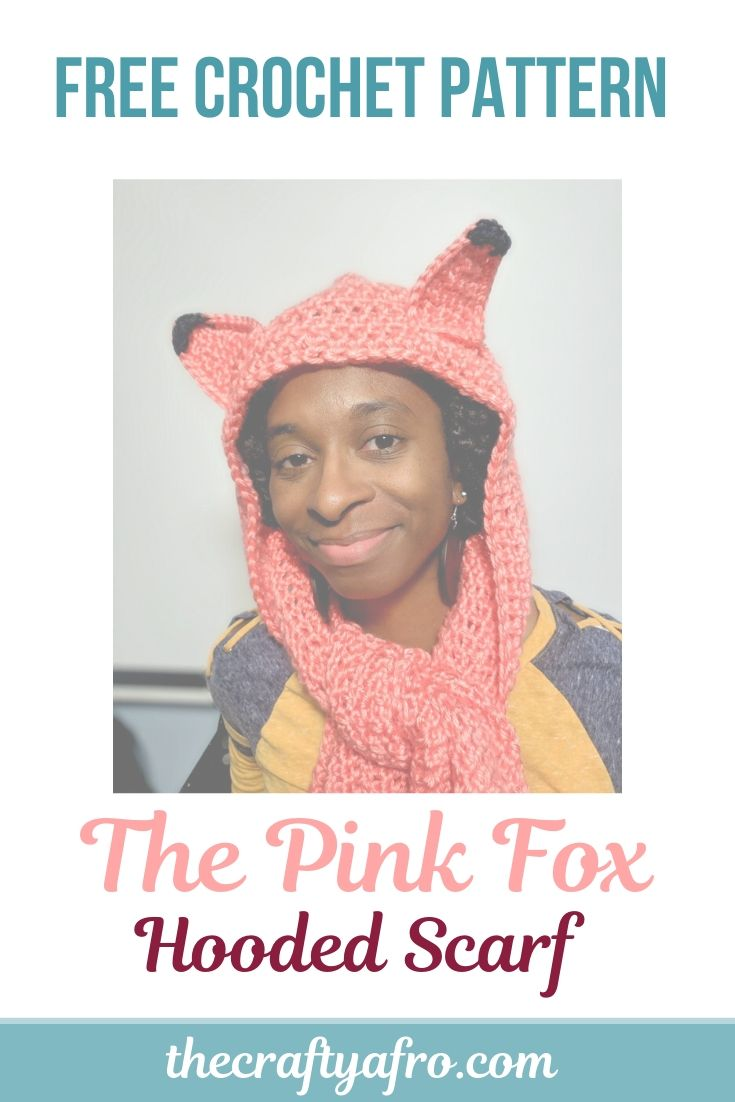 Looking for a cute easy crochet hooded scarf pattern? Try making this simple double crochet pink fox hooded scarf. Perfect for kids,teens, and adults! Download the free pdf pattern today. #crochet #crochetscarf #crochetpattern #beginners #scarf