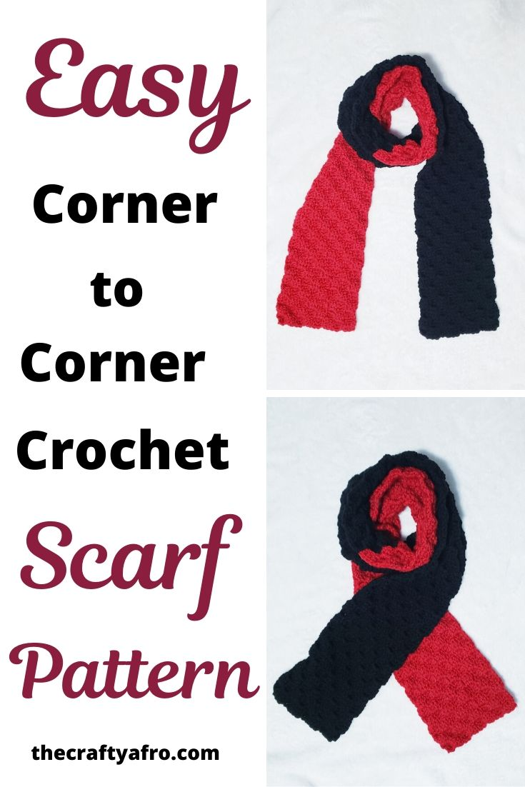 Easy corner to corner two tone scarf pattern and tutorial.