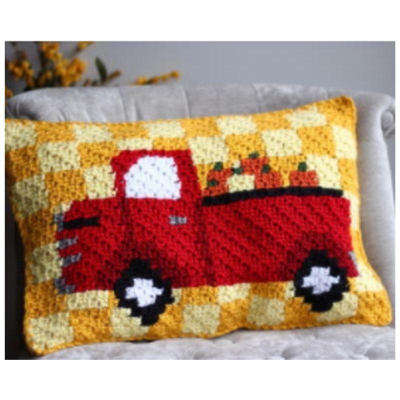 Crochet harvest pumpkin pillow