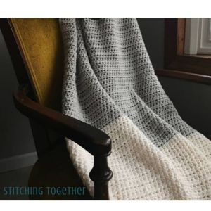 Gray and white crochet blanket