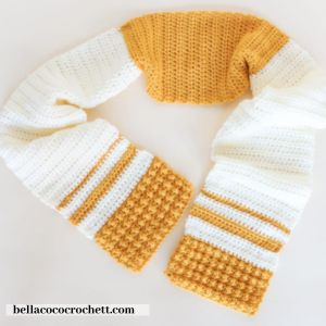 mustard and white crochet scarf