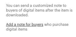 Send a custom note to your customers.