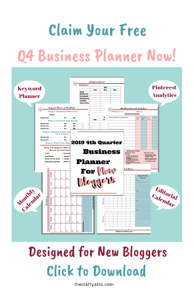 Quarter 4 Business Planner for New Bloggers. Get your blogged organized for the last quarter of the year with this free printable planner for new bloggers.